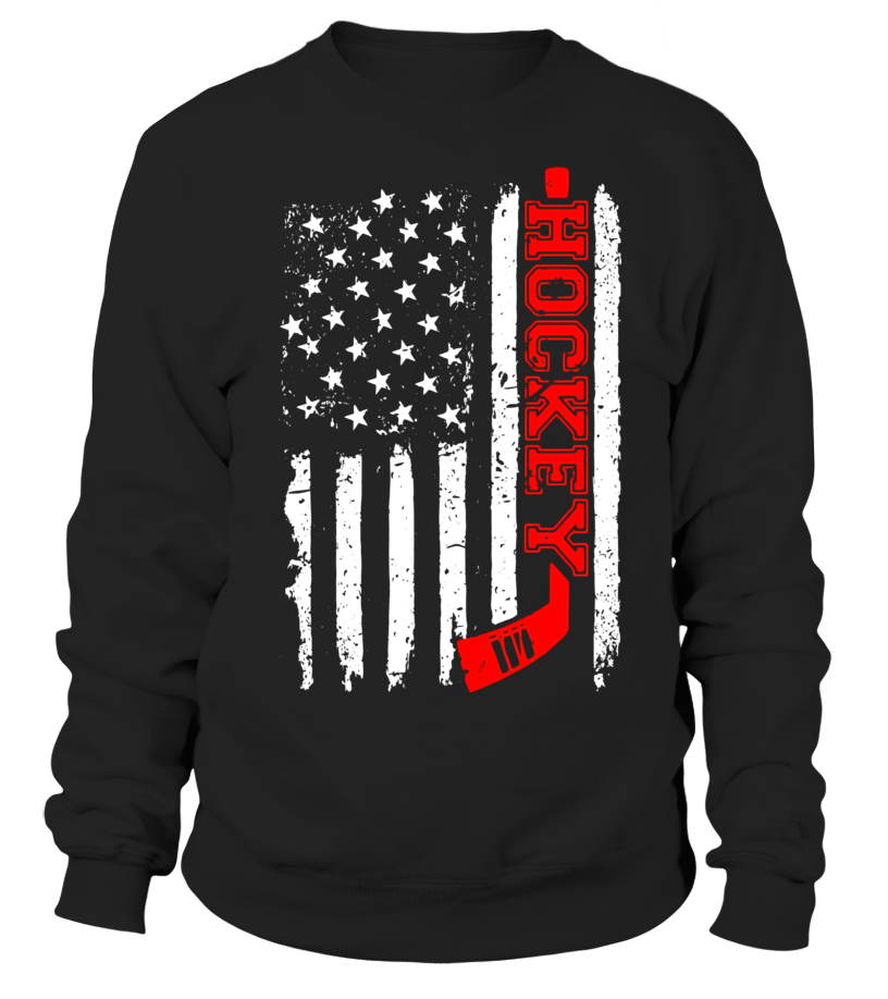 Hockey stick red american flag distressed t shirt for Custom t shirts distressed