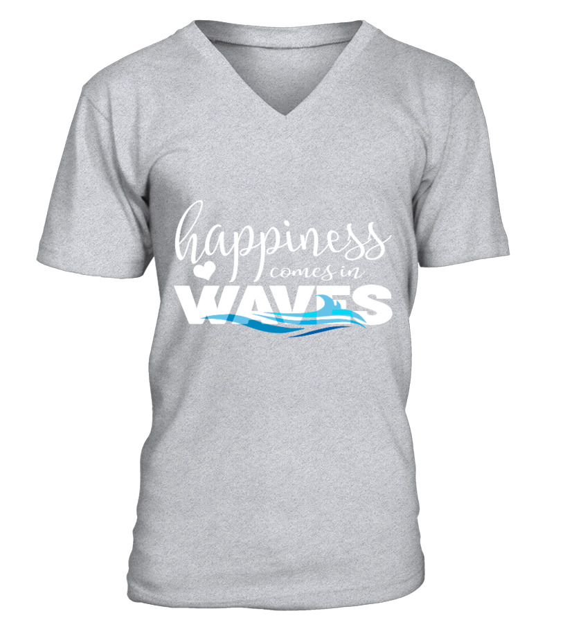 3468435112c Happiness Comes in Waves Grey - T-shirt
