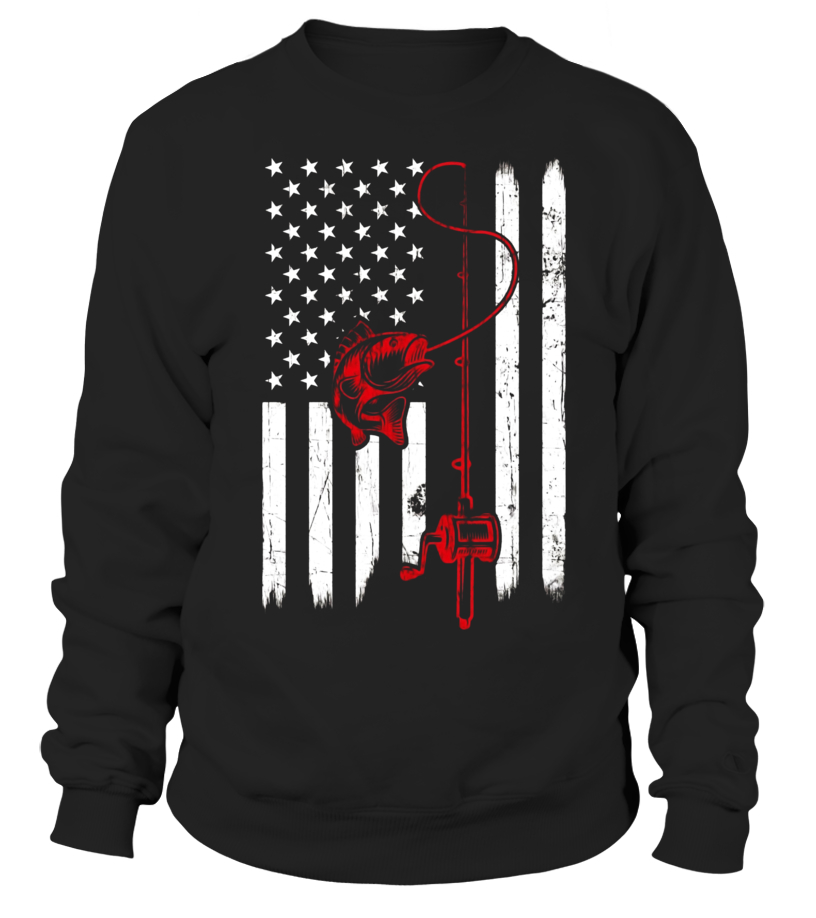 08214f531 Vintage Fishing Tshirt with American Flag Bass Fishing - Sweatshirt ...