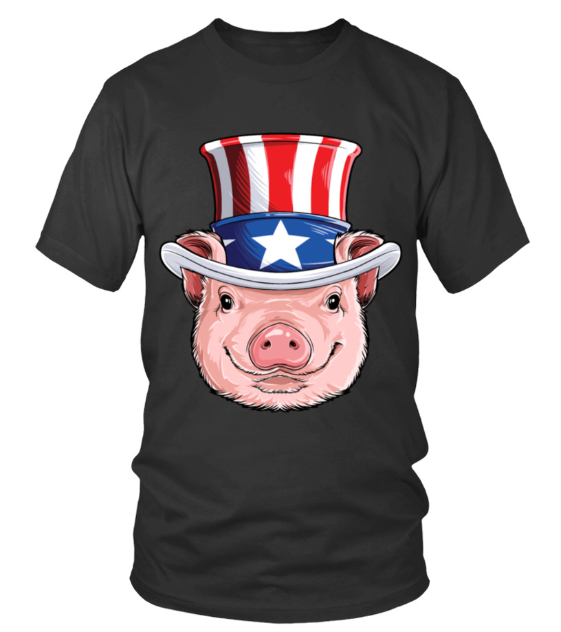 Pig Uncle Sam 4th of July T shirt Kids Girls American Flag Hat USA ... 01b0018a304