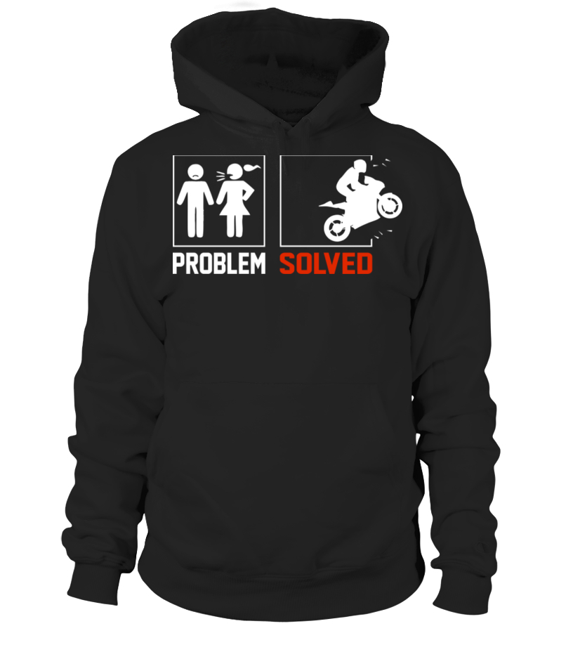 Biker Novelty Problem Solved Style  Motorcycle Printed Hoodie in 5 Sizes
