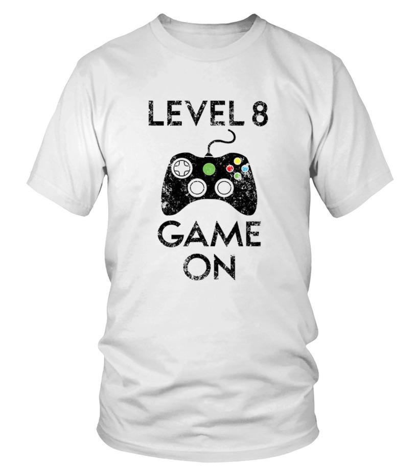 Kids Level 8 Game On 8th Birthday Gift T Shirt