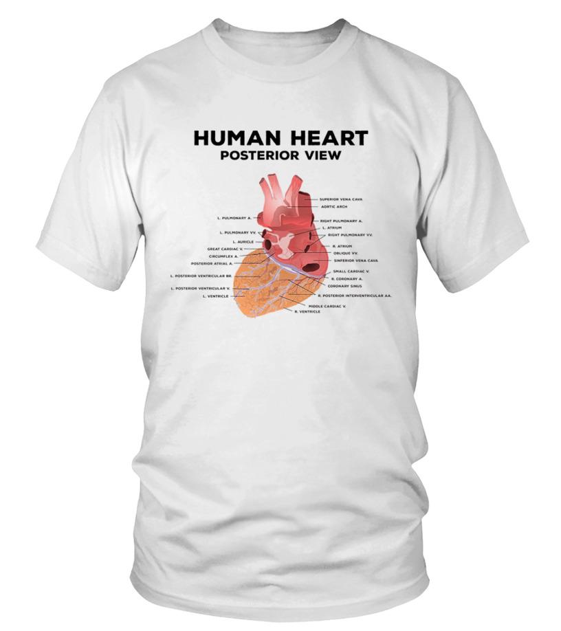 Human Anatomy T Shirt Design Heart Graphic Diagram Men Women T