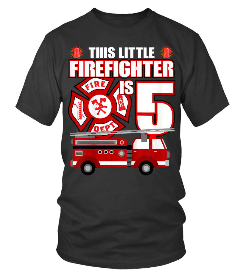 942a41a6da0 Kids 5 Year Old Firefighter Birthday T Shirt Fire Truck 5th Gift - T-shirt