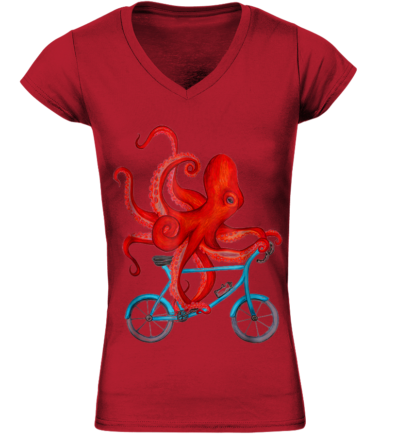Unisex Kids Cycling Octopus Round Collar Short Sleeve T Shirt