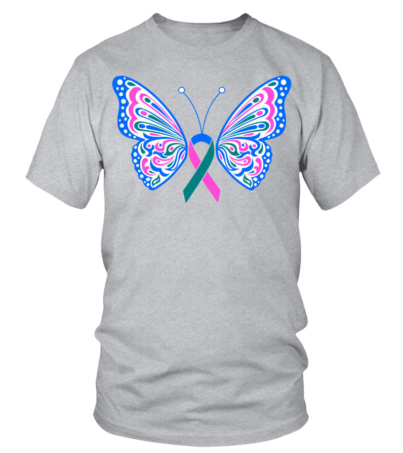 Thyroid Cancer Blue Pink Teal Ribbon Butterfly Wings Tattoo