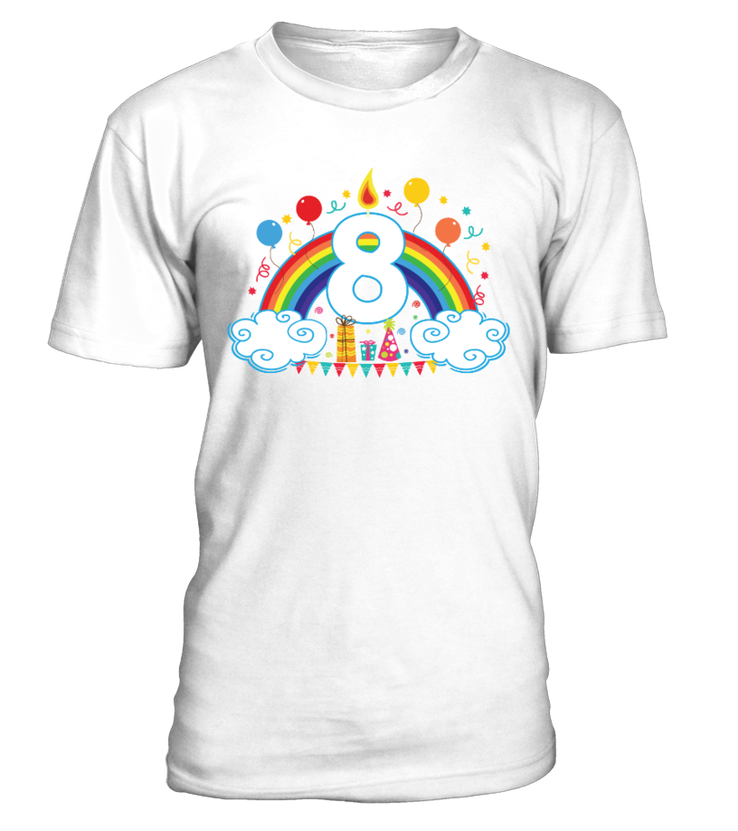 Girls Happy Birthday Age 8 Party Gift Tee