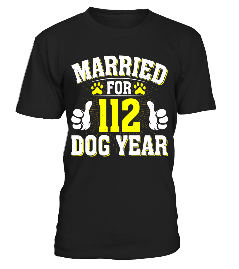 16th Wedding Anniversary.Married For 112 Dog Years T Shirt 16th Wedding Anniversary T Shirt