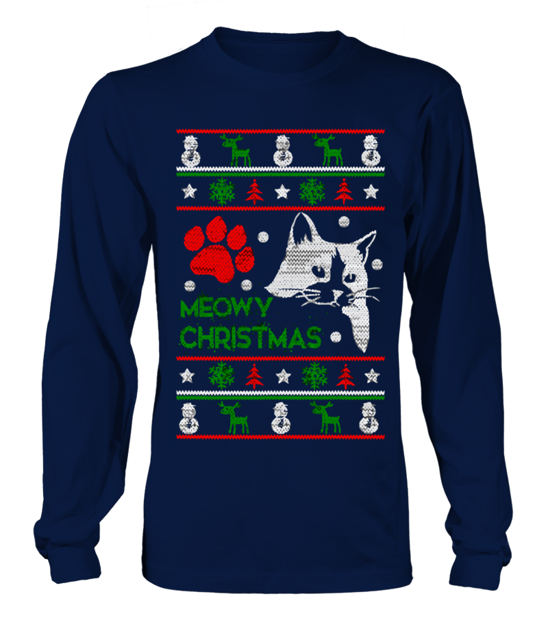 de6cebd8a96fa Meowy Ugly Christmas Sweater - Christmas Party Sweatshirt - Xmas ...