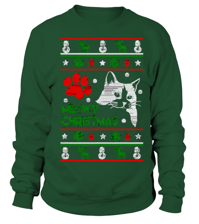 f12b9bb3d Meowy Ugly Christmas Sweater - Christmas Party Sweatshirt - Xmas Gifts  Ideas - Cat Lover Christmas