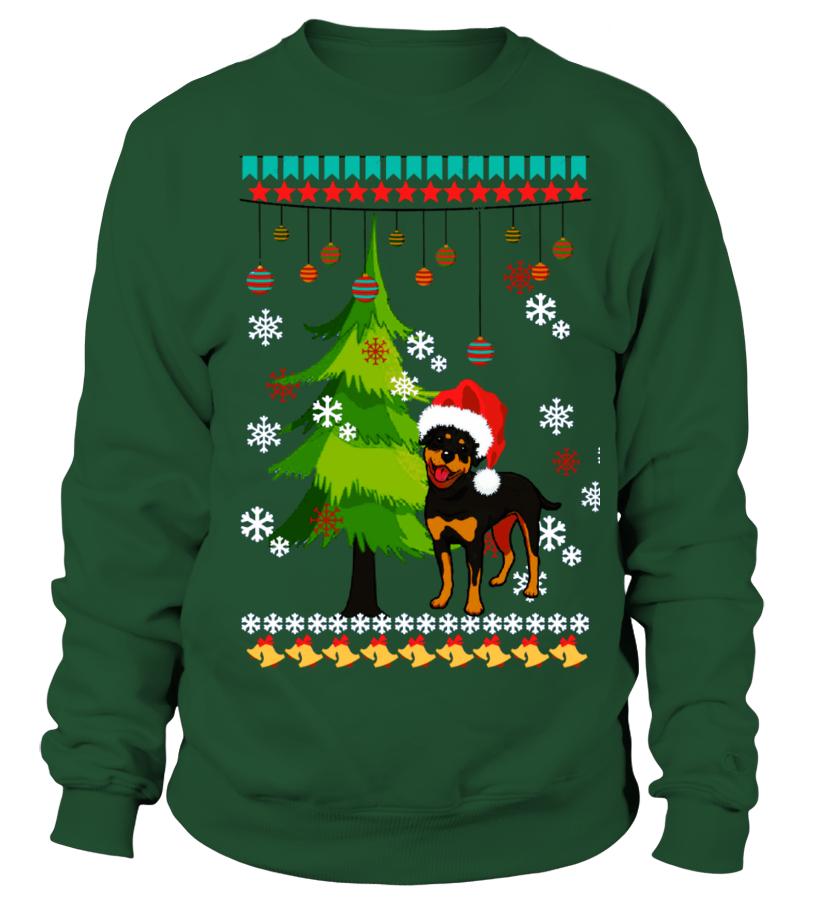 Kersttrui Hond.Kerst Trui Rottweiler Hond Sweatshirt Teezily
