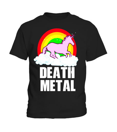 Camiseta Funny Death Metal Unicorn Rainbow T-Shirt Heavy Metal | Teezily